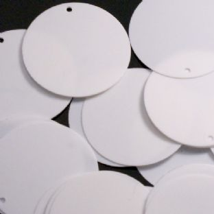 Large 30mm Glossy White Disc  Sequins x 100